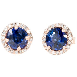 EFFY Final Call 14k Rose Gold Diffused Sapphire and 1/5ct TDW Diamond Earrings (D-E,VS1-VS2)