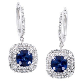 EFFY Final Call 14k White Gold Sapphire and 1/2ct TDW Diamond Earrings (D-E,VS1-VS2)