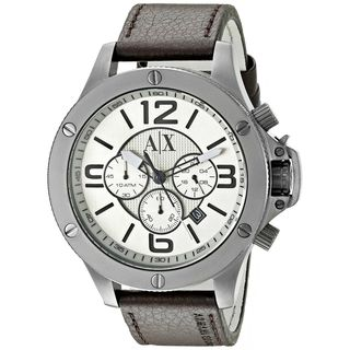 Armani Exchange Men's AX1519 'Wellworn' Chronograph Brown Leather Watch
