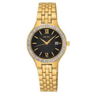 Seiko Women's SUR754 Stainless Steel Gold Tone Water Resistant Watch with Austrian Crystals
