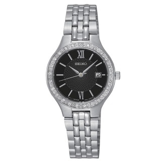 Seiko Women's SUR761 Stainless Steel SilverTone Water Resistant Watch with Austrian Crystals