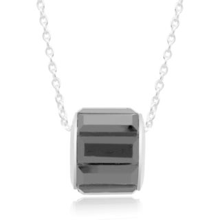 Rhodium-plated Brass Black Cubic Zirconia Baguette Charm Necklace