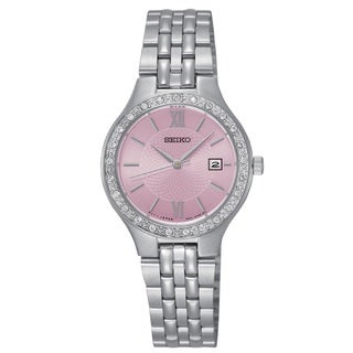 Seiko Women's SUR765 Stainless Steel silverTone Water Resistant Watch with Austrian Crystals
