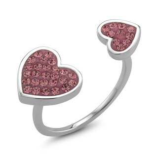 Rhodium-plated Brass Double Sided Heart Pink Preciosa Crystal Ring (4 options available)