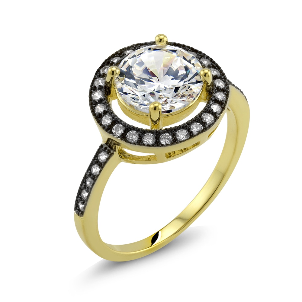 Beverly Hills 18k Two-tone Gold Round Cubic Zirconia 'Car...