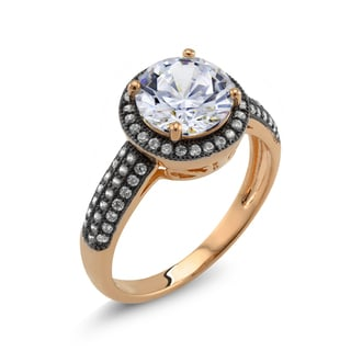 18k Two-tone Gold Round Cubic Zirconia 'Debra' Ring