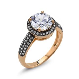 18k Two-tone Gold Round Cubic Zirconia 'Debra' Ring