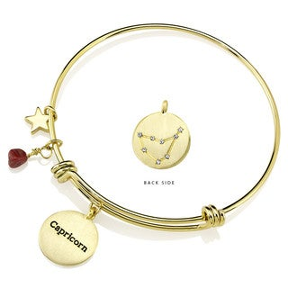 18k Yellow Goldplated Brass Capricorn Constellation Garnet Birthstone Bangle