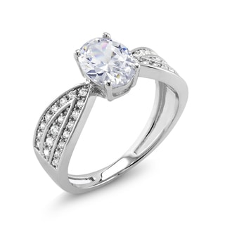 Rhodium-plated Brass Oval Cubic Zirconia Engagement Ring