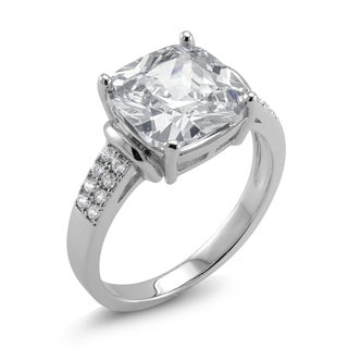 Rhodium-plated Cushion-cut Cubic Zirconia Engagement Ring