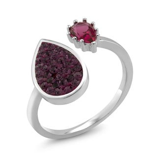Rhodium-plated Double Sided Pear Amethyst Preciosa Crystal Ring