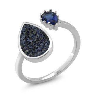 Rhodium-plated Brass Double Sided Pear Montana Preciosa Crystal Ring