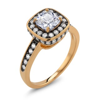 18k Two-tone Gold Cushion-cut Cubic Zirconia 'Emma' Ring