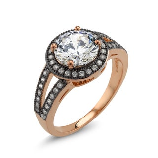 18k Two-tone Gold Round Cubic Zirconia 'Andrea' Ring
