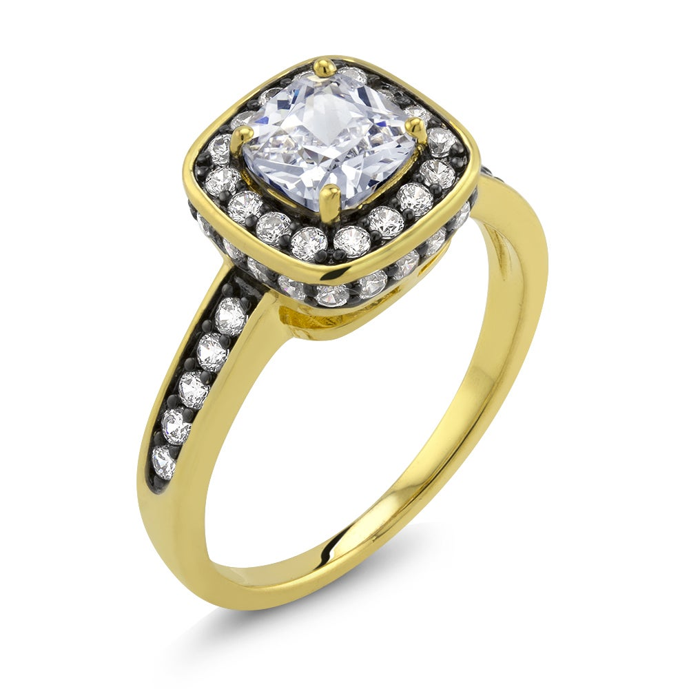Beverly Hills 18k Two-tone Gold Cushion-cut Cubic Zirconi...