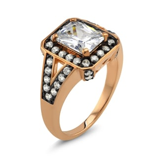 18k Two-tone Radiant-cut Cubic Zirconia 'Grace' Ring