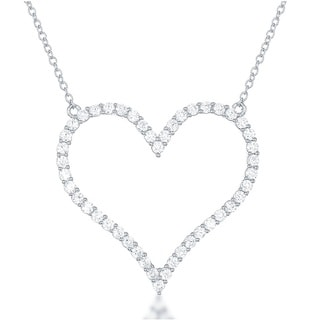La Preciosa Sterling Silver Cubic Zirconia Open Heart Necklace