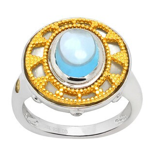 De Buman 18k Yellow Gold and Sterling Silver Genuine Swiss Blue Topaz & Zircon Solid Ring Size 7