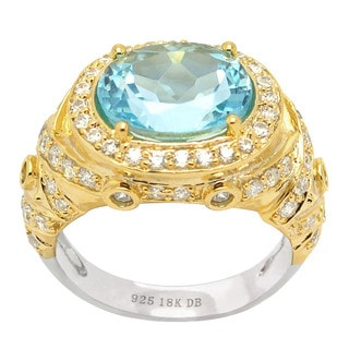 De Buman 18k Yellow Gold and Sterling Silver Genuine Sky Blue Topaz & Zircon Solid Ring (Size 7)