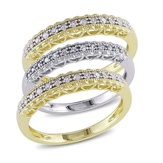 Miadora 10k Two-tone Gold 1/4ct TDW Diamond 3-Piece Anniversary Rings Set