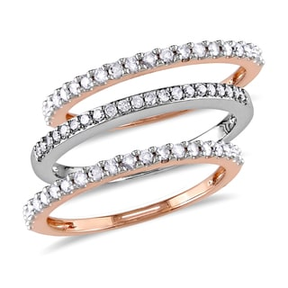 Miadora 10k Rose and White Gold 1/4ct TDW Diamond 3-Piece Semi Eternity Rings Set