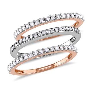 Miadora 10k Rose and White Gold 1/4ct TDW Diamond 3-Piece Semi Eternity Rings Set