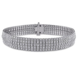 Miadora Signature Collection 18k White Gold 5 1/5ct TDW Diamond Multi-row Tennis Bracelet (G-H, SI1-SI2)