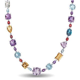 Miadora Signature Collection 14k White Gold Multi-gemstone Station Necklace