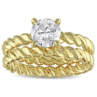 Miadora Signature Collection 14k Yellow Gold 1ct TDW Diamond Solitaire Bridal Ring Set (J-K, I2-I3)