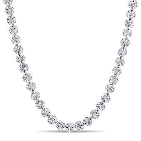 Miadora Signature Collection 14k White Gold 15 3/8ct TDW Diamond Cluster Tennis Necklace