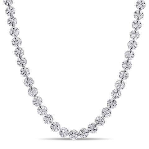 Miadora Signature Collection 14k White Gold 15 3/8ct TDW Diamond Cluster Tennis Necklace