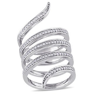 Miadora Signature Collection 14k White Gold 1/2ct TDW Diamond Spiral Middle Finger Ring (G-H, SI1-SI2)