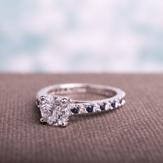 Miadora Signature Collection 14k White Gold Sapphire and 1 1/5ct TDW Diamond Engagement Ring