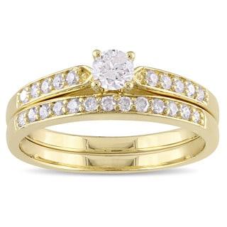 Miadora Yellow Plated Sterling Silver 1/2ct TDW Diamond Bridal Ring Set