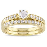 Miadora Yellow Plated Sterling Silver 1/2ct TDW Diamond Bridal Ring Set - White