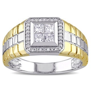 Miadora 10k Two-tone Gold 1/2ct TDW Princess-cut Diamond Men's Ring (G-H, I2-I3)
