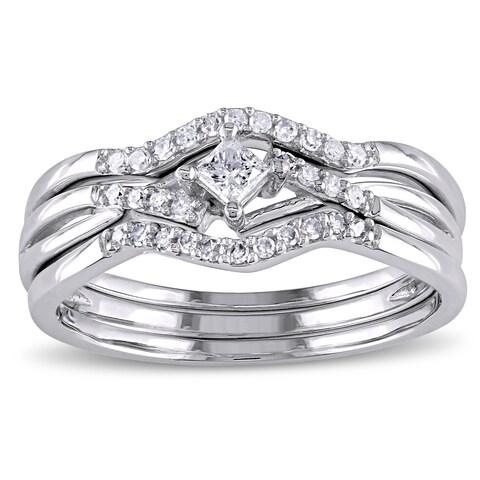 Miadora 1/4ct TDW Princess and Round-Cut Diamond Crossover 3-Piece Bridal Set in 10k White Gold