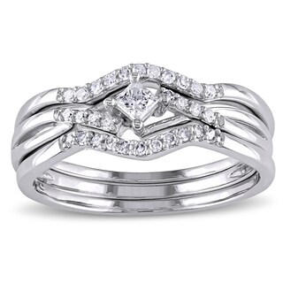 Miadora 1/4ct TDW Princess and Round-Cut Diamond Crossover 3-Piece Bridal Set in 10k White Gold (More options available)