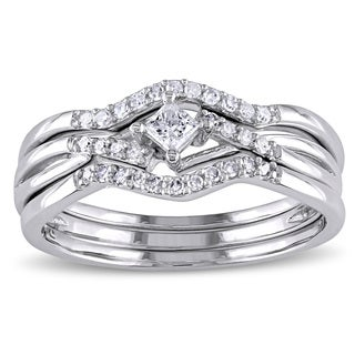 Miadora 1/4ct TDW Princess and Round-Cut Diamond Crossover 3-Piece Bridal Set in 10k White Gold