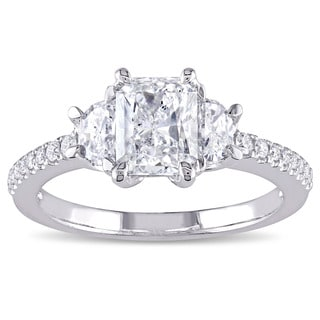 Miadora Signature Collection 14k White Gold 1 1/2ct TDW Radiant-cut Diamond 3-stone Engagement Ring (G-H, SI1-SI2)