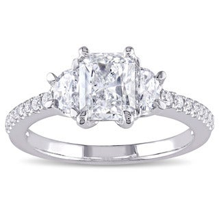 Miadora Signature Collection 14k White Gold 1 1/2ct TDW Radiant-cut Diamond 3-stone Engagement Ring