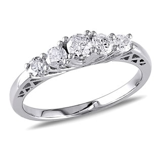 Miadora 10k White Gold 1/2ct TDW Diamond 5-stone Engagement Ring (G-H, I2-I3)