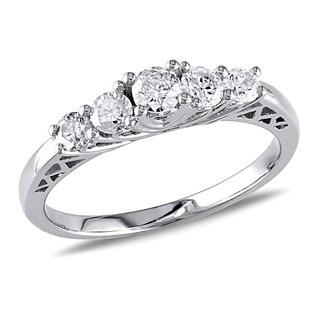 Miadora 10k White Gold 1/2ct TDW Diamond 5-stone Engagement Ring (G-H, I2-I3)