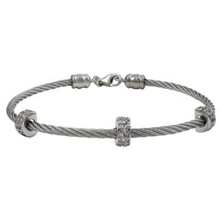 Luxiro Rhodium Finish Cubic Zirconia Wire Bangle Bracelet