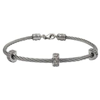 Luxiro Rhodium Finish Cubic Zirconia Wire Bangle Bracelet - Silver