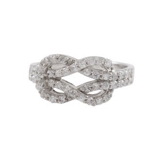 Luxiro Sterling Silver Cubic Zirconia Love Knot Ring