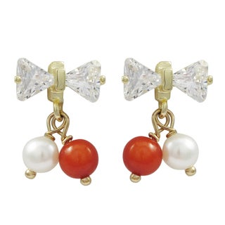 Luxiro Gold Finish Sterling Silver Faux Pearl and Cubic Zirconia Bow Earrings