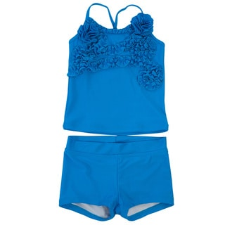 DownEast Basics Girls' Ruffle Tankini Swimsuit
