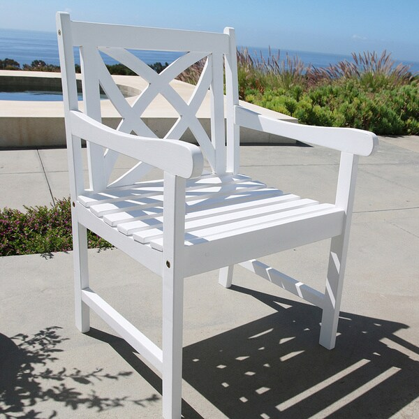 Bradley Eco-friendly Outdoor White Wood Garden Arm Chair - Free ...
