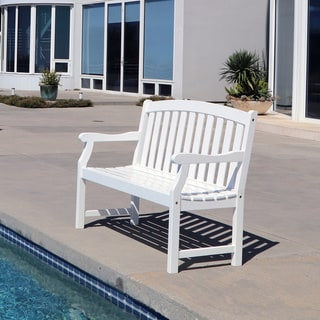 Link to Surfside Eco-friendly 4-foot Outdoor White Wood Garden Bench by Havenside Home Similar Items in Patio Furniture